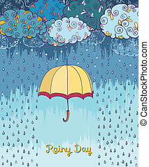Doodles rainy weather decorative poster