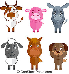 Wild and domestic animal icons set - Wild and domestic...