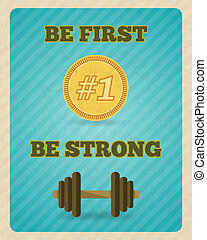 Fitness strength exercise motivation poster on bright color...
