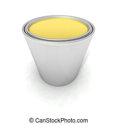 yellow paint can - a 3d render of a yellow paint can