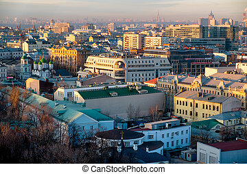 Moscow skyline at the sunset. Russia