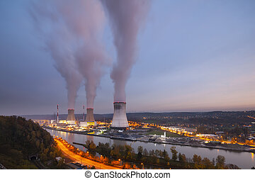 Nuclear Power Station At Dusk