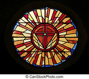 stain glass window - Stain glass window in little church in...