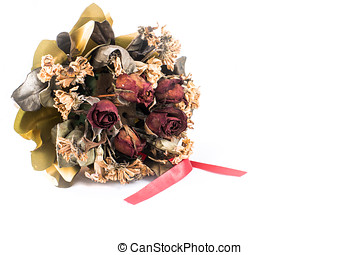 dry rose bouquet on white blackground