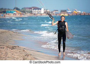Kite Surfer in sea waves