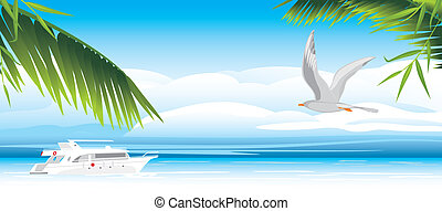 Flight of seagull over a sea. Vector illustration
