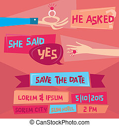 Save the Date  - Retro Wedding Invitation Card with Diamond Ring - in vector