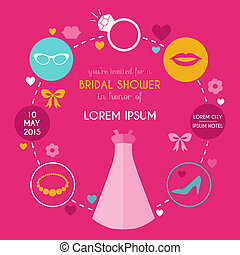 Wedding Bridal Shower Card - with place for your text - in vector
