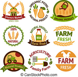 Farming harvesting and agriculture badges or labels set on...
