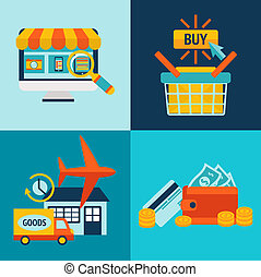Online Shopping Business Icons Set - Online shopping...