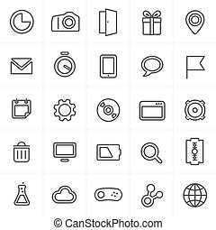Modern web icons collection isolated on white