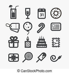 Different holiday icons set with rounded corners. Design...