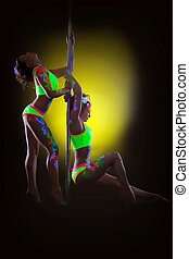 Sensual young girls dancing barefoot on pylon - Image of...