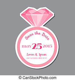Save the Date  - Wedding Invitation Card with Diamond Ring - in vector