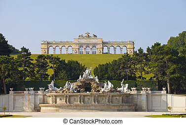 Schonbrunn Palace Gardens at Vienna - View on Gloriette...