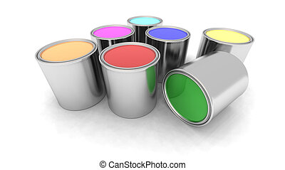 rainbow color paint cans - a 3d renderer of some paint cans