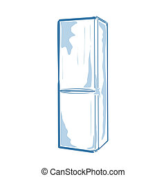 Fridge - Vector illustration : Fridge on a white background...