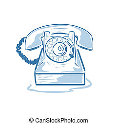 Old phone - Vector illustration : Old phone on a white...