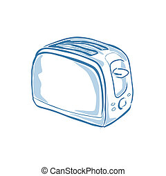 Toaster - Vector illustration : Toaster on a white...