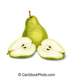 Green natural organic pear fruit - Green natural organic...