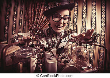 outstanding - Portrait of a beautiful steampunk woman over...