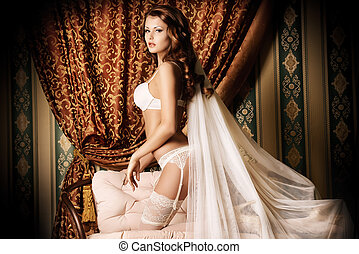 bridal veil - Attractive young woman alluring in sexual...