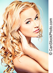 shining hair - Portrait of a smiling woman with beautiful...