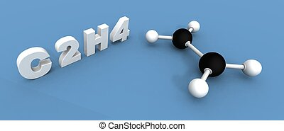 ethylene molecule - a 3d render of a ethylene molecule