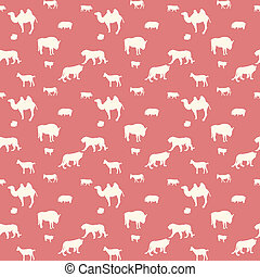 Silhouette of Wild and Domestic Animals. Seamless Pattern. Vector Illustration.
