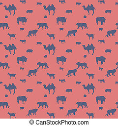 Silhouette of Wild and Domestic Animals. Seamless Pattern....