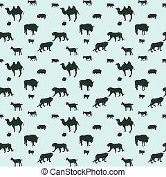 Silhouette of Wild and Domestic Animals Seamless Pattern...