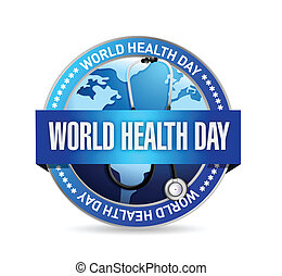 world health day blue seal illustration design