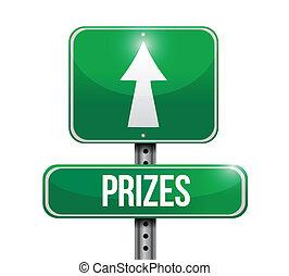 prizes street sign illustration design