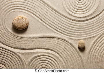 Zen garden - Top view of raked sand with stones