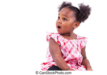Surprised little african american girl, isolated on white...