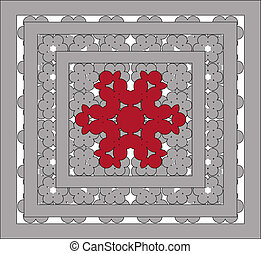 openwork ornaments with grey, red  lace