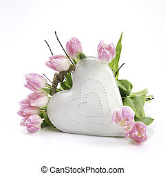 White heart with flowers - White heart of metal with flowers...