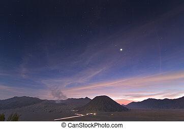 Volcanoes in Bromo Tengger Semeru National Park at sunset....