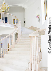 Empty staircase in luxurious home