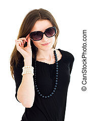 Woman in black dress and sunglasses - Attractive woman...