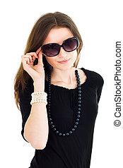 pretas, Vestido, mulher, óculos de sol