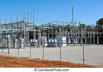 Power Substation - High Voltage Electric Substation with...
