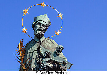 Patron saint Nepomuk - Saint Nepomuk, patron of bridges on...
