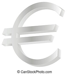 metallic euro sign isolated on white background