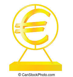 Golden Euro sign on the white background.