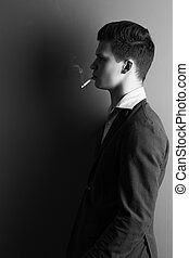 Handsome man with cigarette