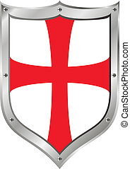 Knights Templar shield on white background
