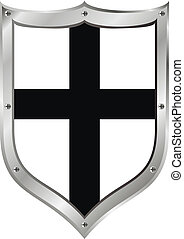 Shield medieval Teutonic Order on white background.
