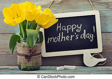 Happy mothers day - Beautiful tulips bouquet with blackboard...