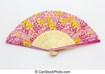 Chinese fan pattern on the pink flowers isolated on white...